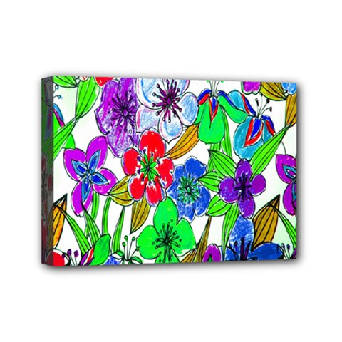 Background Of Hand Drawn Flowers With Green Hues Mini Canvas 7  X 5