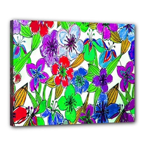 Background Of Hand Drawn Flowers With Green Hues Canvas 20  X 16