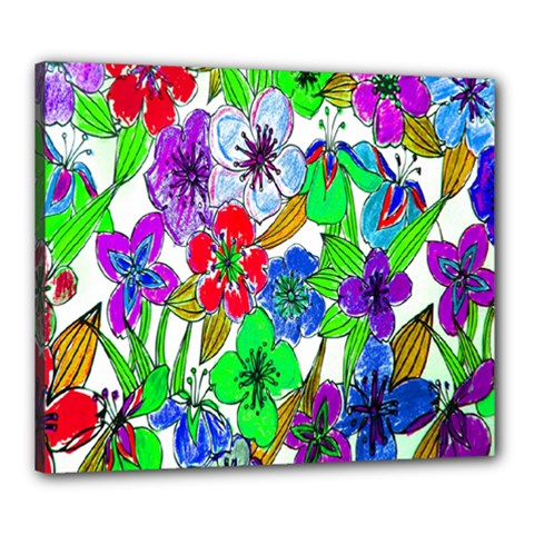 Background Of Hand Drawn Flowers With Green Hues Canvas 24  X 20