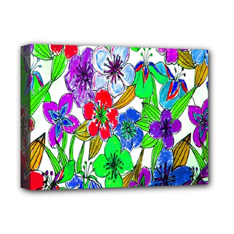 Background Of Hand Drawn Flowers With Green Hues Deluxe Canvas 16  x 12