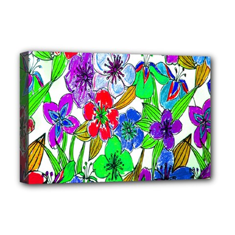 Background Of Hand Drawn Flowers With Green Hues Deluxe Canvas 18  x 12