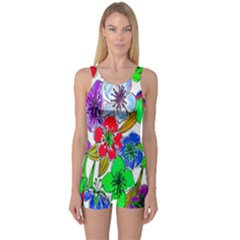 Background Of Hand Drawn Flowers With Green Hues One Piece Boyleg Swimsuit