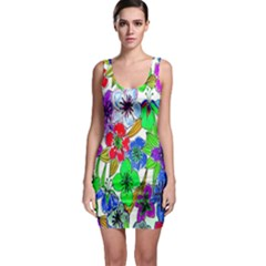 Background Of Hand Drawn Flowers With Green Hues Sleeveless Bodycon Dress