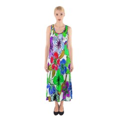 Background Of Hand Drawn Flowers With Green Hues Sleeveless Maxi Dress