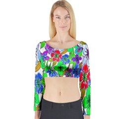 Background Of Hand Drawn Flowers With Green Hues Long Sleeve Crop Top