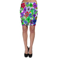 Background Of Hand Drawn Flowers With Green Hues Bodycon Skirt