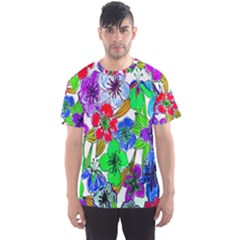 Background Of Hand Drawn Flowers With Green Hues Men s Sport Mesh Tee