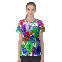Background Of Hand Drawn Flowers With Green Hues Women s Sport Mesh Tee