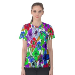 Background Of Hand Drawn Flowers With Green Hues Women s Cotton Tee