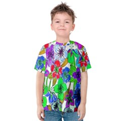 Background Of Hand Drawn Flowers With Green Hues Kids  Cotton Tee