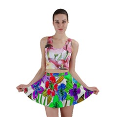 Background Of Hand Drawn Flowers With Green Hues Mini Skirt