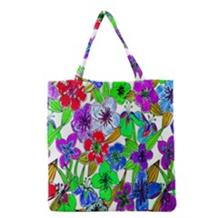Background Of Hand Drawn Flowers With Green Hues Grocery Tote Bag