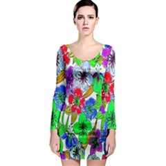 Background Of Hand Drawn Flowers With Green Hues Long Sleeve Bodycon Dress