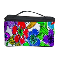 Background Of Hand Drawn Flowers With Green Hues Cosmetic Storage Case