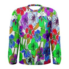 Background Of Hand Drawn Flowers With Green Hues Men s Long Sleeve Tee