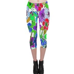 Background Of Hand Drawn Flowers With Green Hues Capri Leggings