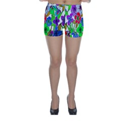 Background Of Hand Drawn Flowers With Green Hues Skinny Shorts