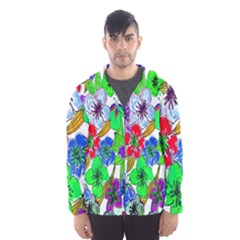 Background Of Hand Drawn Flowers With Green Hues Hooded Wind Breaker (Men)