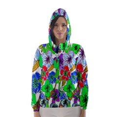 Background Of Hand Drawn Flowers With Green Hues Hooded Wind Breaker (women)