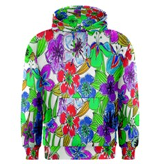 Background Of Hand Drawn Flowers With Green Hues Men s Pullover Hoodie