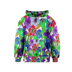 Background Of Hand Drawn Flowers With Green Hues Kids  Pullover Hoodie