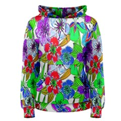 Background Of Hand Drawn Flowers With Green Hues Women s Pullover Hoodie