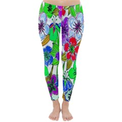 Background Of Hand Drawn Flowers With Green Hues Classic Winter Leggings