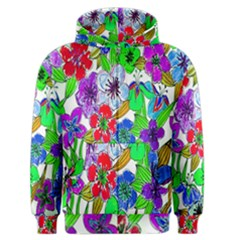 Background Of Hand Drawn Flowers With Green Hues Men s Zipper Hoodie