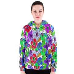 Background Of Hand Drawn Flowers With Green Hues Women s Zipper Hoodie
