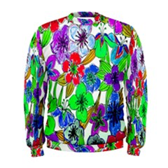 Background Of Hand Drawn Flowers With Green Hues Men s Sweatshirt