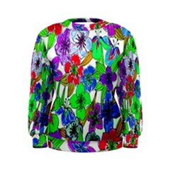 Background Of Hand Drawn Flowers With Green Hues Women s Sweatshirt