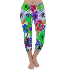Background Of Hand Drawn Flowers With Green Hues Capri Winter Leggings