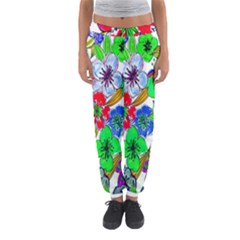 Background Of Hand Drawn Flowers With Green Hues Women s Jogger Sweatpants