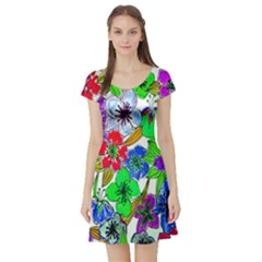 Background Of Hand Drawn Flowers With Green Hues Short Sleeve Skater Dress