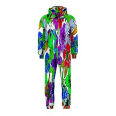Background Of Hand Drawn Flowers With Green Hues Hooded Jumpsuit (kids)