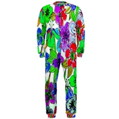 Background Of Hand Drawn Flowers With Green Hues Onepiece Jumpsuit (men)
