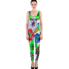 Background Of Hand Drawn Flowers With Green Hues OnePiece Catsuit