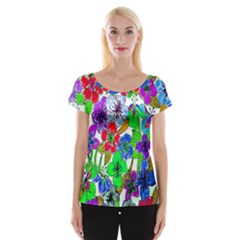 Background Of Hand Drawn Flowers With Green Hues Women s Cap Sleeve Top