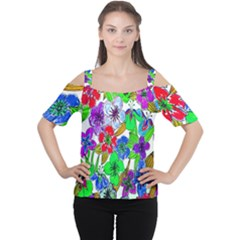 Background Of Hand Drawn Flowers With Green Hues Women s Cutout Shoulder Tee