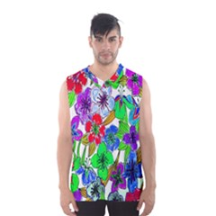 Background Of Hand Drawn Flowers With Green Hues Men s Basketball Tank Top