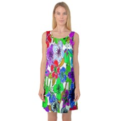 Background Of Hand Drawn Flowers With Green Hues Sleeveless Satin Nightdress