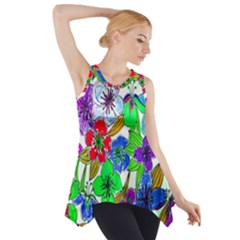 Background Of Hand Drawn Flowers With Green Hues Side Drop Tank Tunic