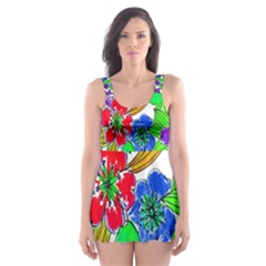 Background Of Hand Drawn Flowers With Green Hues Skater Dress Swimsuit