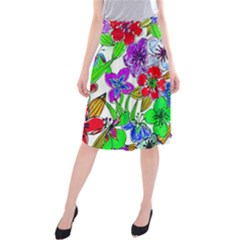 Background Of Hand Drawn Flowers With Green Hues Midi Beach Skirt