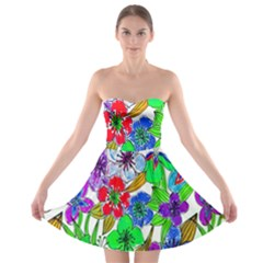 Background Of Hand Drawn Flowers With Green Hues Strapless Bra Top Dress