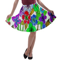 Background Of Hand Drawn Flowers With Green Hues A-line Skater Skirt