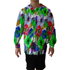Background Of Hand Drawn Flowers With Green Hues Hooded Wind Breaker (Kids)