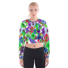 Background Of Hand Drawn Flowers With Green Hues Cropped Sweatshirt
