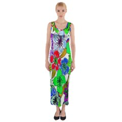 Background Of Hand Drawn Flowers With Green Hues Fitted Maxi Dress