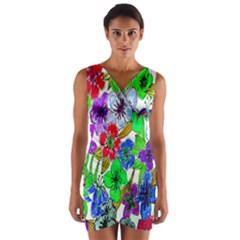 Background Of Hand Drawn Flowers With Green Hues Wrap Front Bodycon Dress